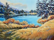 Libby Parsons - Autumn Lake Solitude 18 x 24 Acrylic