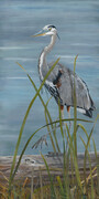 Claudia Punter - Great Blue Heron, Acrylic on Canvas 60 x 30