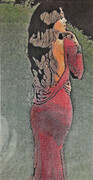 Traicheff George, Lady in Red, stone lithograph, 16 x 9.5 in